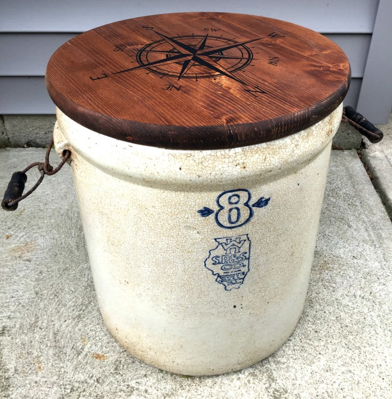 Antique Crock Turned Compass Side Table